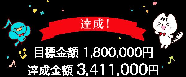 目標金額:1,800,000円 達成金額:3,411,000円